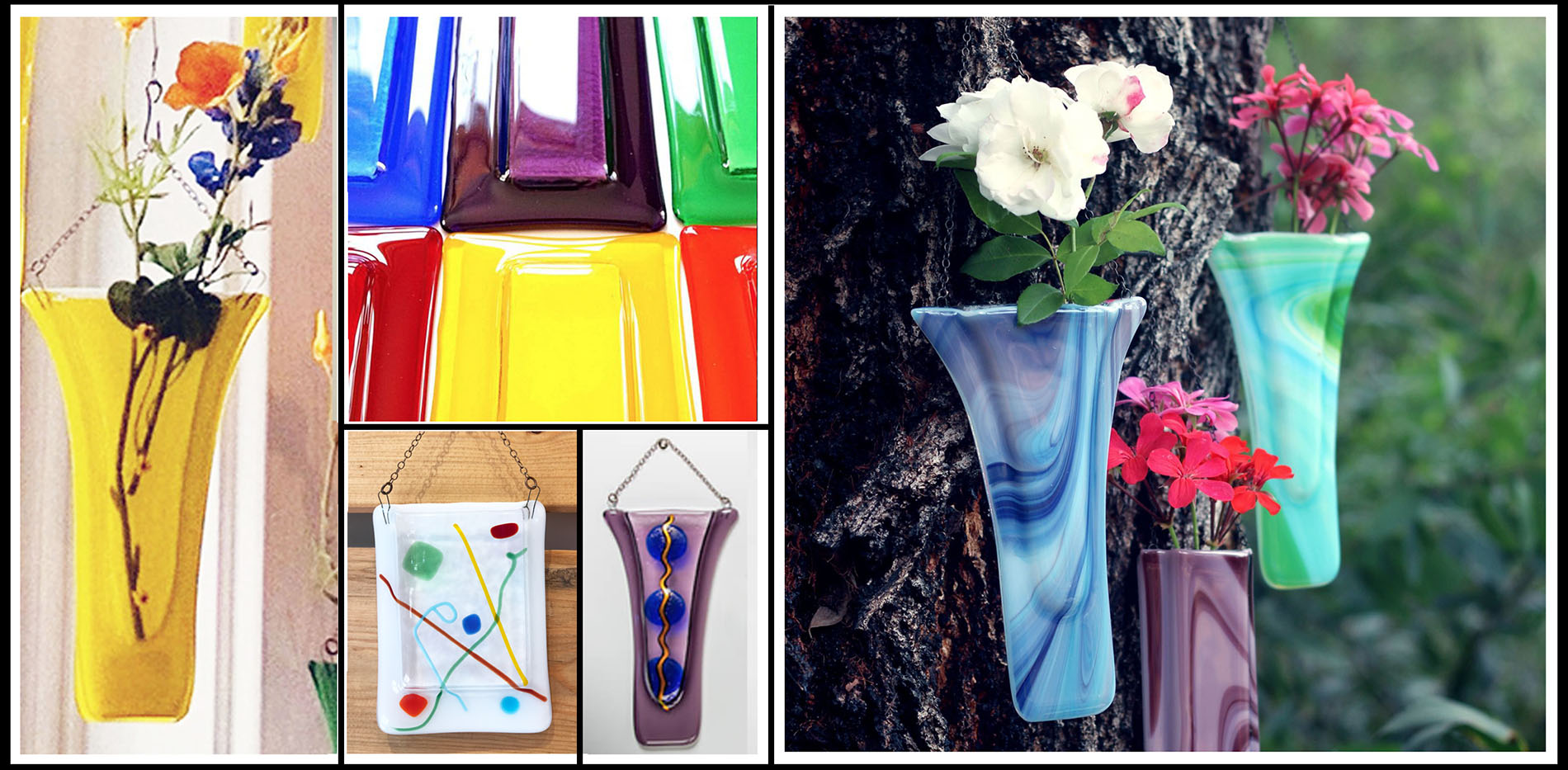 Wall Pocket Vases in Glass