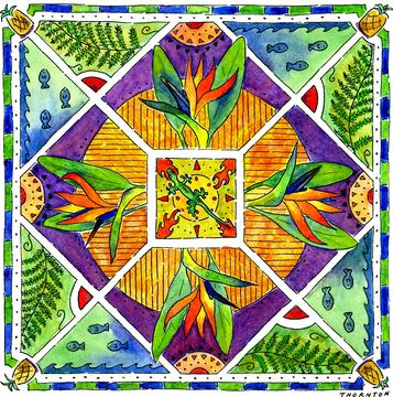 Hawaiian Mandala II Bird of Paradise