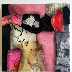 Abstract Paper Collage on Wooden Panels