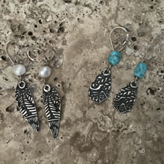 Silver Metal Clay Earrings