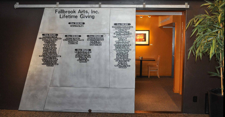 Lifetime Giving Wall at the Fallbrook Art Center